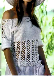Remera escote bote en tricot y crochet