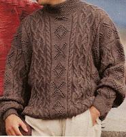 Blauer Pullover mit Rundpasse
