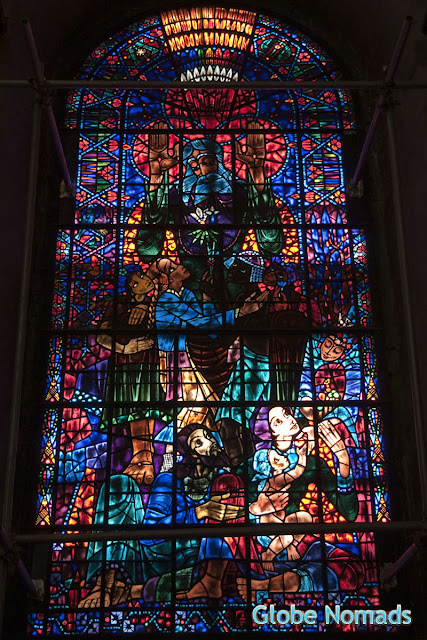 Stained glass window entitled Peace