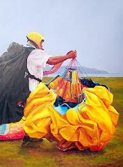 No twitter, pinturas em óleo de parapentes.