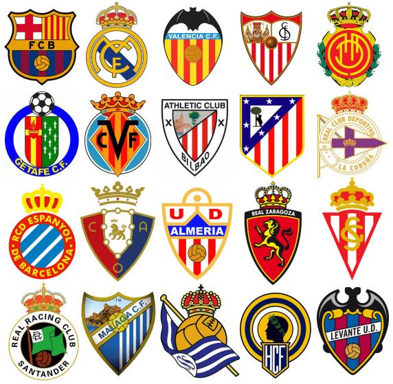 La liga en n meros escudos de los equipos de primera for Div p