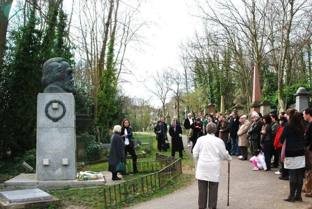 British fools paying homage to their spiritual leader Karl Marx.