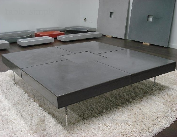 Table beton com table basse en b ton cir bfuhp for Table effet beton cire