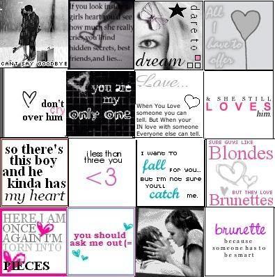love quotes and icons. Cutesy icons thingy :)