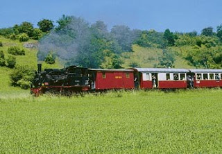 Steam train in the Swabian Alb, Germany