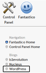 WordPress option in Fantastico De Luxe
