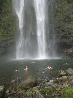 Swimming at Hanakapiai Falls, Kauai (Hawaii)