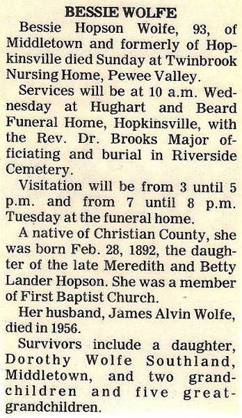 Bess's obituary, 1985