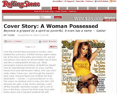 beyonce possessed rolling stone article