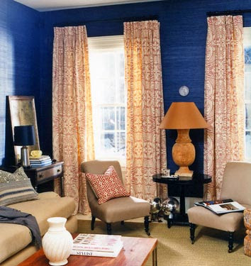 Kelsey inspired color duo blue and orange for Blue and orange room