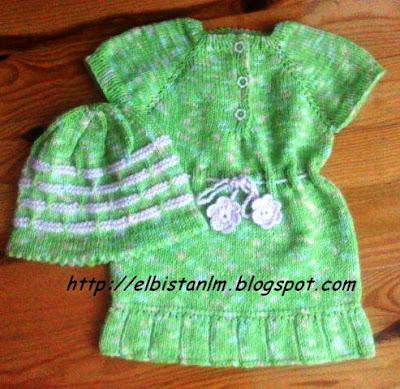 örgü kız bebek elbise ve bere