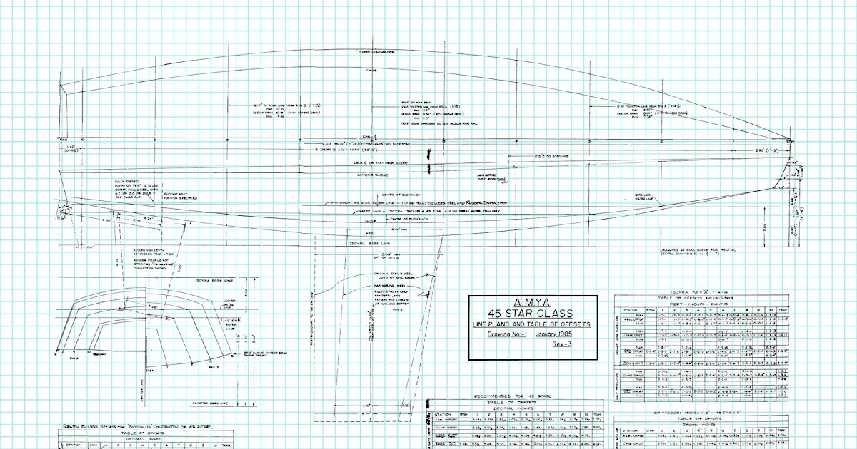 AMYA Star45 How To Build R/C Model Sail Boat -: S45 Class Sailboat Plans {line drawings} on-line