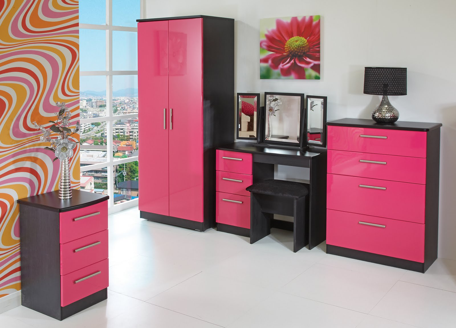 Modern bedroom furniture stores popular interior house ideas for Bedroom designs pink and black
