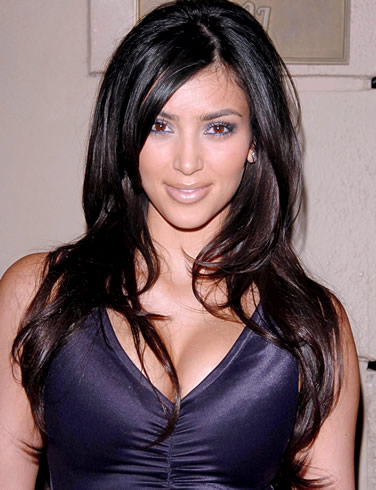 light brown hair color kim kardashian. Hair Color: Black with Brown