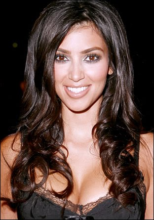 kim kardashian hair up styles. Kim Kardashian - Long Wavy