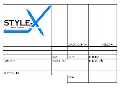 Style x formato de pago de nomina Formato para pago de nomina