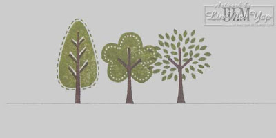 Stampin' Up! Trendy Trees trunks first with overlapping foliage