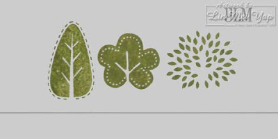 Foliage stamped using composite vellum guide