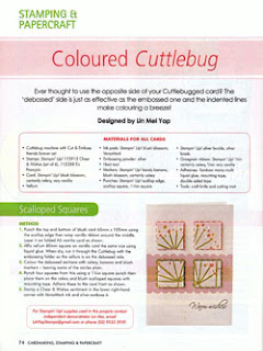 Cardmaking Stamping & Papercraft Vol 15 No 3 Coloured Cuttlebug Cards By Lin Mei Yap Pg 74