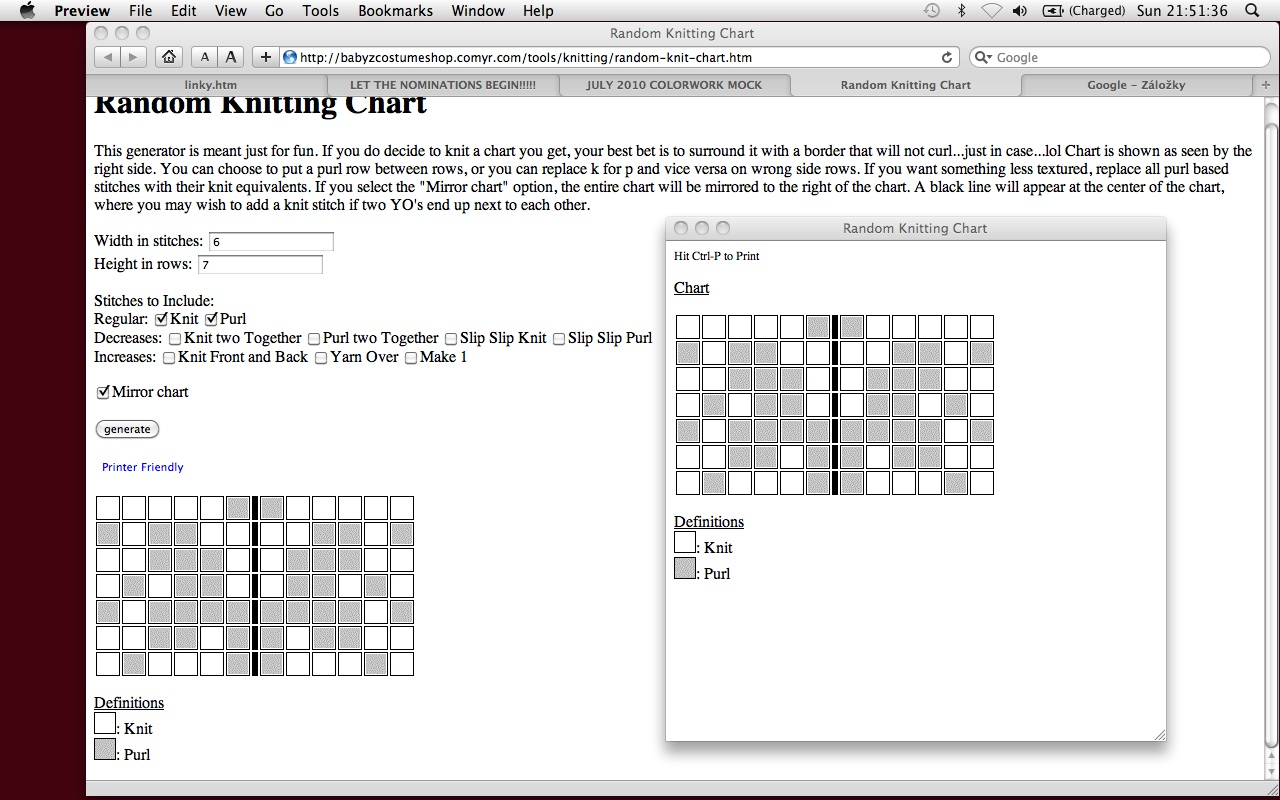 pragueloop: Random knitting chart generator