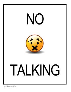 No Talking Sign Printable