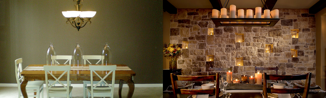 Stone wall dining room