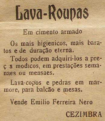 anúncio da empresa de Emílio Ferreira Nero, em 1937 no jornal 'O Cezimbrense'
