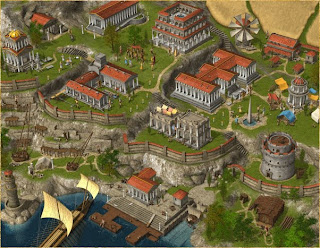 Grepolis town buildings level 3 with library and tower