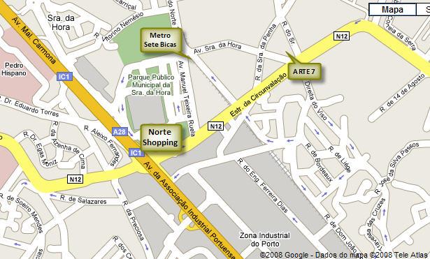 Mapa para o ajudar a chegar à Arte7