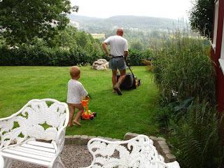 Fadern, sonen, utsikten och den gröna gräsmattan