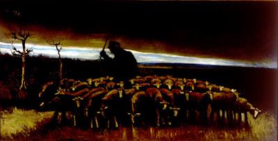 Después de la tormenta, Pastor con un rebaño de ovejas, Van Gogh - 1884