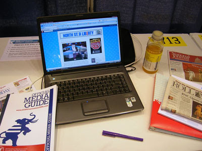 My workstation in the Press Filing Center (photo: North Star Liberty)