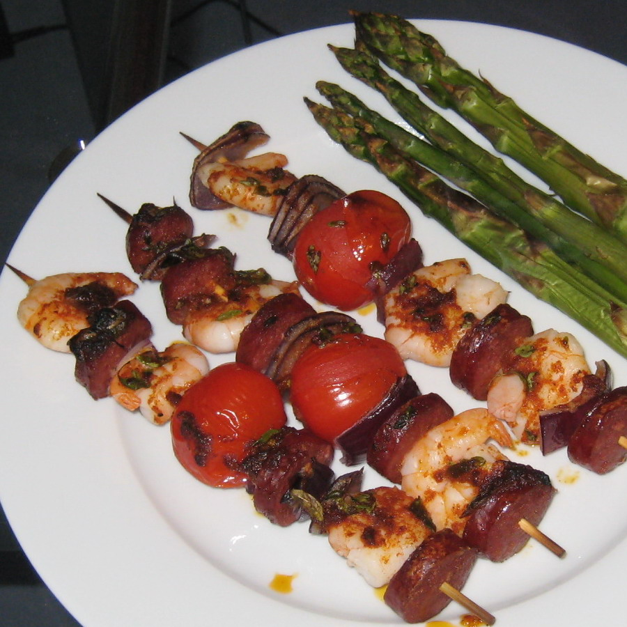 Grilled Shrimp And Sausage Skewers With Smoky Paprika Glaze Recipes ...