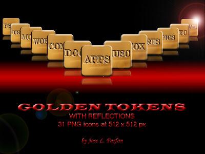 Golden Tokens iconos rocketdock objectdock pepua personalizacion