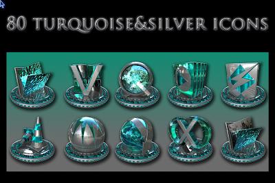Turquoise & Silver iconos rocketdock objectdock pepua personalizacion PC