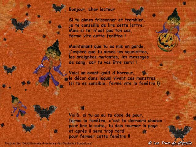 Poème d'Halloween à la manière des Orphelins Baudelaire - oct. 2010 (lire l'article)