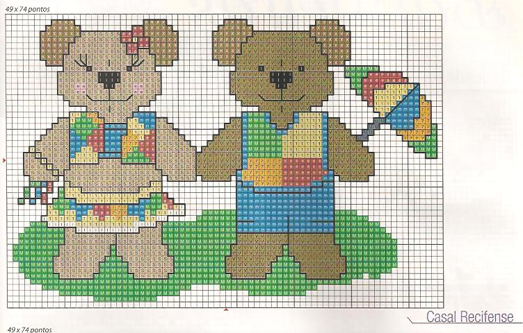 Arte de Bom Tom: Casais de ursinhos super apaixonados em ponto cruz