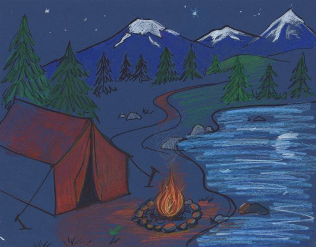 Explain That The Trees In Front Are Much Larger Farther Back Show Step By How To Draw Tent Lake And Mountains