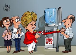 Charge. Dilma e as inaugurações.  border=