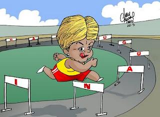 Charge. O treinamento da Dilma
