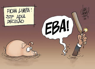 O STF, os Políticos e a Ficha Limpa. Charge.