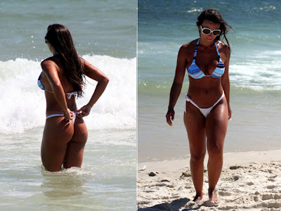 Nicole Bahls mostra sua beleza na praia