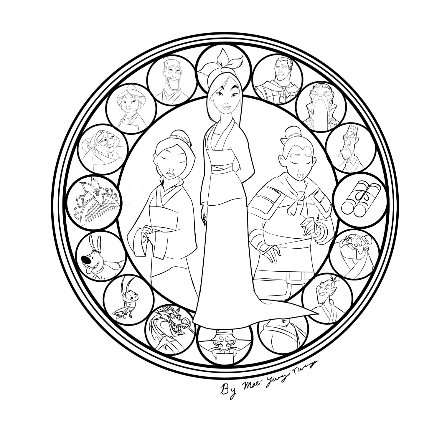 Song Of Mu Lan Stained Glass Disney Princess Free Coloring Sheets