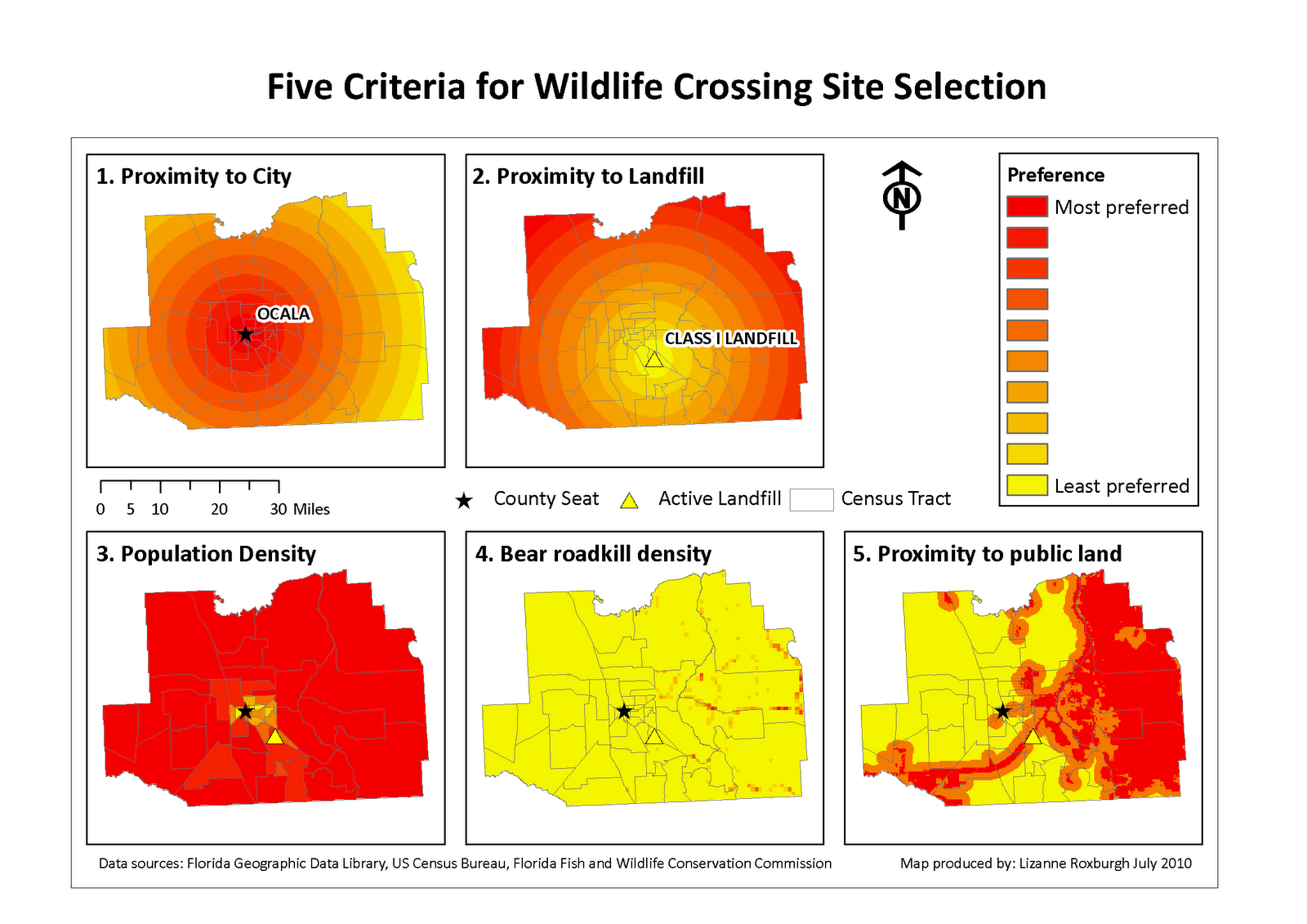 maps of the five criteria chosen for site selection