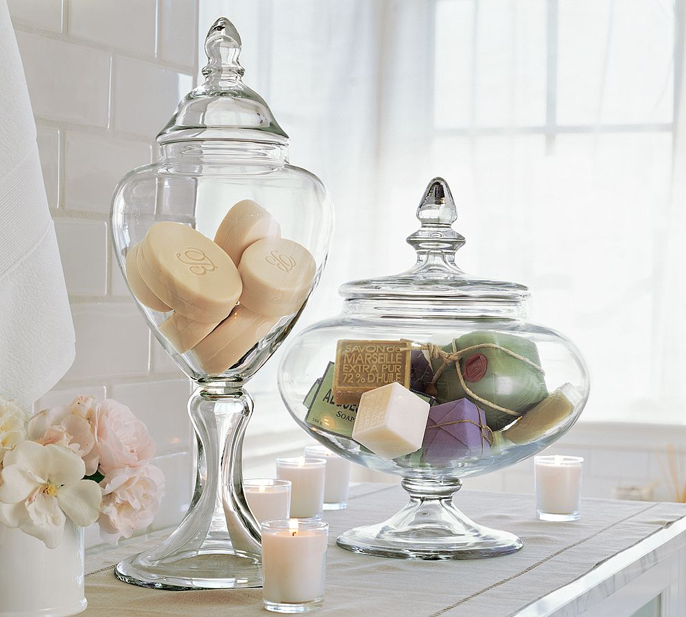 Haus design apothecary jars for Glass bathroom canisters