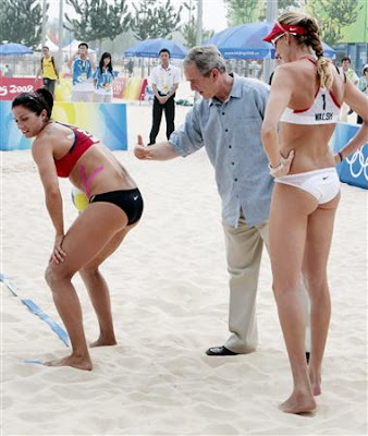 George Bush visits beach women's beach volleyball team