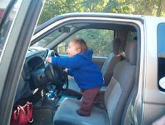 Grandboy Emmett Drivin Grandpa's Truck