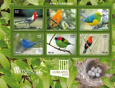 [Set of bird stamps issued by Brazil in conjunction with Birdpex 2010]