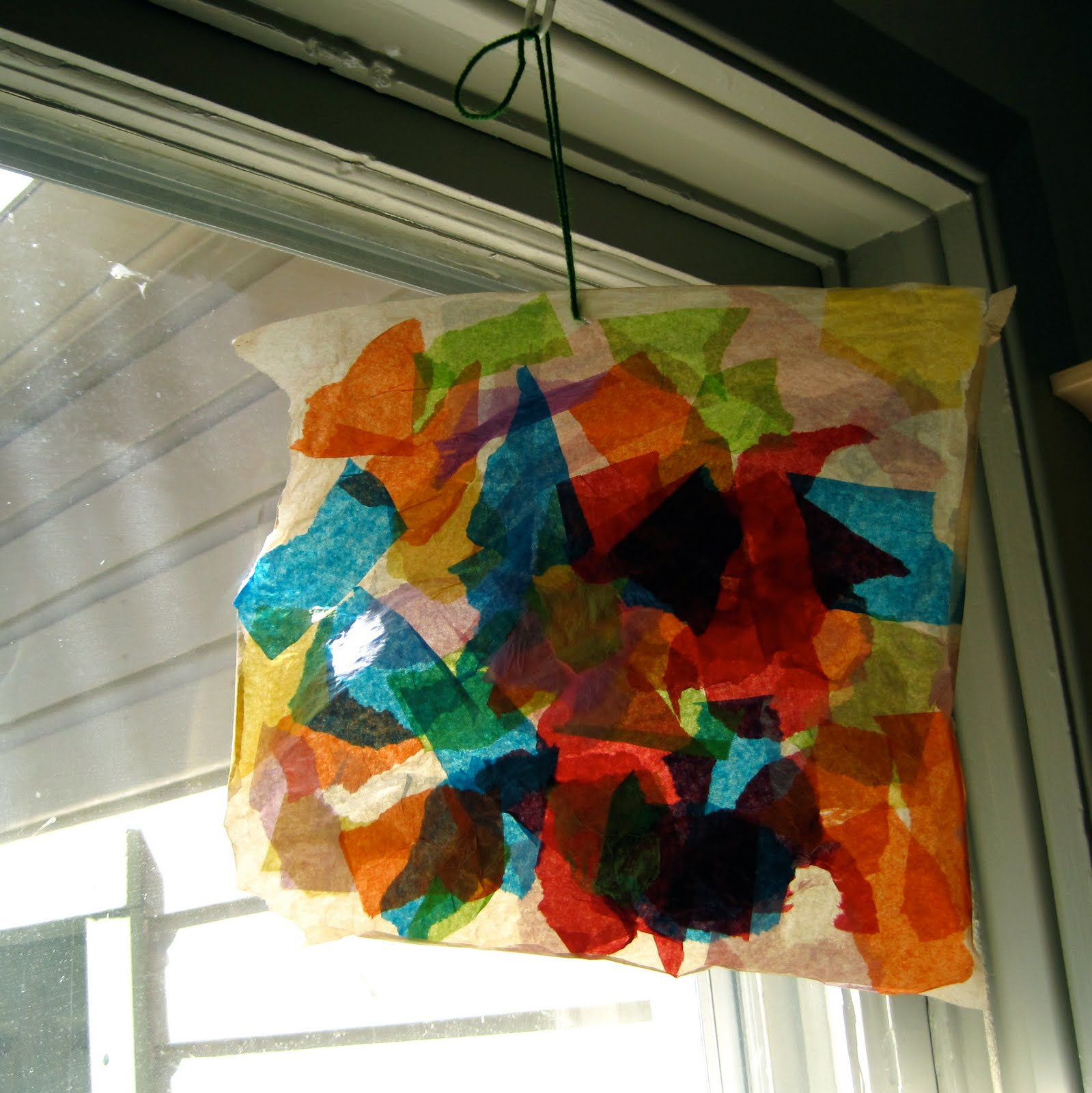 Natural kids make tissue paper stained glass for Stained glass window craft with tissue paper
