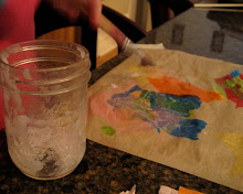 make tissue paper stained glass + homemade liquid starch